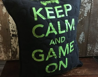 30% OFF SUPER SALE- Gamer Throw Pillow-Gamer-Stay Calm- Iconic--Upcycled Eco Friendly-Quilted