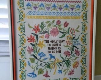 Friendship Needlework / Cross Stitch / Framed / Wall Hanging / LARGE
