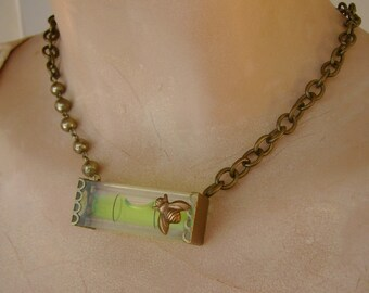 On The Level - Working Bubble Level Antique Brass Honey Bee Recycled Repurposed Jewelry Necklace