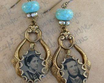 Devotion - Antique 1870s Tintype Photographs, Rhinestones, Turquoise Recycled Repurposed Jewelry Assemblage Earrings