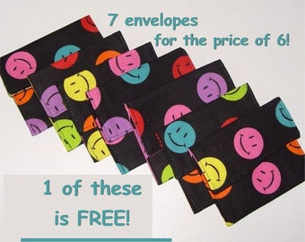 Gift Card Jewelry Envelope License Business or Credit Card Holder Fabric Envelopes Great for party favors Set of 6 + 1 FREE