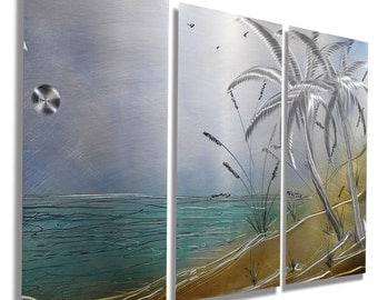 NEW! Nautical Metal Artwork - Modern Metal Painting - Beach Decor - Wall Hanging - Tropical Accent -  Tropical Isle by Jon Allen