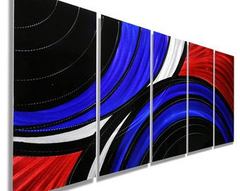 Multi Panel Metal Wall Art in Red, Blue & Black, Modern Metal Wall Decor, Abstract Wall Sculpture, Home Decor - Allegiant by Jon Allen