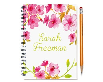 2016 2 Year Weekly Planner, Personalized 24 Month Calendar Notebook, Start Any Time, Add Your Name, Custom Gift Idea,SKU: 2yr w pink flowers