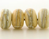 4 DARK IVORY with Fine Silver Wraps - Handmade Lampwork Glass Beads - taneres