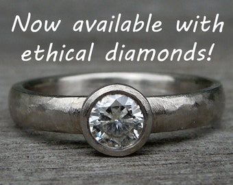 Simple Diamond Engagement / Wedding Ring in Recycled 950 Palladium - Ethical, Lab-Created, Eco-Friendly, Made in the USA - Made To Order