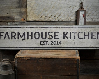 Farmhouse Kitchen Wood Sign, Personalized Since Established Date Year Sign, Kitchen Decor - Rustic Hand Made Vintage Wooden Sign ENS1001445