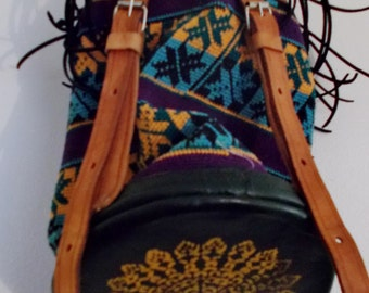 Hand Painted Leather Backpack Purse, Upcycled leather, Large purse