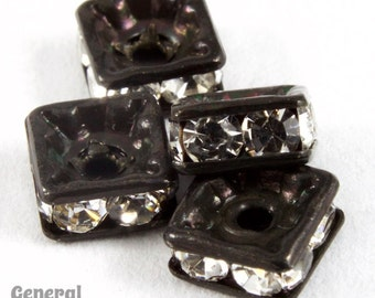 4.5mm Black/Crystal Squaredelle (24 Pcs) #RTA704