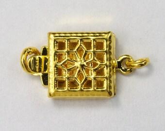 8mm Gold Square Filigree Box Clasp #CLA034