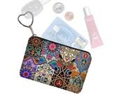 Colorful Boho Small Zipper Pouch Coin Purse Keychain Key Fob Business Card Case Purse Organizer Asian Bohemian Jewel Tones  RTS