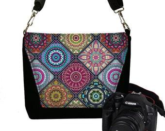 Colorful  Camera Case  DSLR Camera Bag Purse,  Bohemian Bag,  Cross Body Purse,  Messenger Bags for Women, zipper pocket, Mandala  RTS