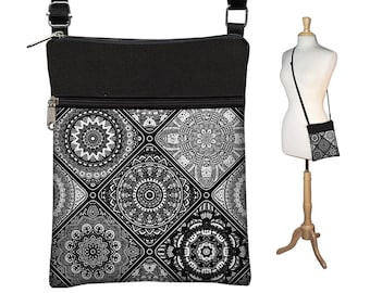 Crossbody Bag, Small Shoulder Bag Purse, Fabric Handbag, Cross Body Purse, Bohemian Bag,  Black White Gray, long strap, zipper, pocket RTS