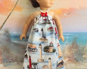 American Girl Doll Clothes Dress Lighthouse Nautical Medley Red White and Blue Beach Sundress