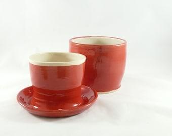 French Butter Jar  - large red butter keeper - butter crock -  lidded bell butter storage jar - home chef - kitchen gadget