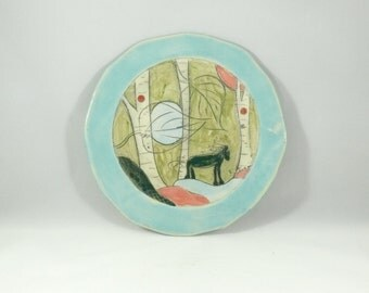 Ceramic dinner plate, lunch plate, pottery dish, decorative plate for wall hanging, kitchen dinnerware