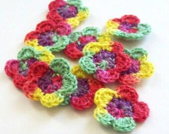 Mini Crochet Flower Appliques, Fiesta Crochet Flower Embellishment, Scrapbooking, Set of 10, Miniature Flower, Crochet Flower Motif