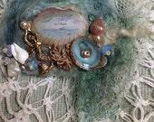 Felted mermaid brooch lavender filled