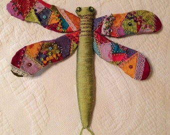 Crazy Quilted Dragonfly needle book wall art