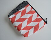 Chevron Zipper Pouch - Cosmetic Make up Bag or Pencil Case - Coral White Chevron