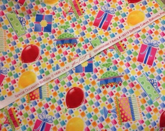 """Sweet Brightly Colored Happy Birthday Cotton Fabric 23"""" by 43"""""""