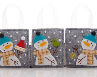 Ornament Set, 3 Snowmen, Wool Felt Christmas Ornaments, Advent Calendar Gifts, Gift Decorations, Christmas Tree Ornaments, Hand Embroidery