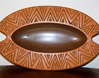 Hyalyn Pottery Dish Ashtray by Herb Cohen Orange Terra Cotta Vintage Cork Bottom