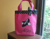 TOTE BAG Dance Tote with Sweet Tap Shoes WITH Ribbon Trim and Bow