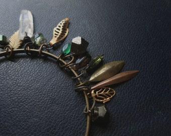 sale - wood witch bangle bracelet iii - pyrite crystal quartz agate beaded charm bracelet goth dark bohemian witchy occult pagan