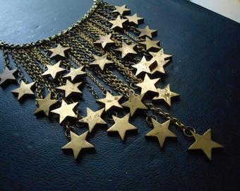 RESERVED - stardust - brass star fringe bib necklace - celestial occult statement jewelry