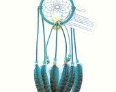 Teal Dream Catcher, Hen Pheasant Feathers