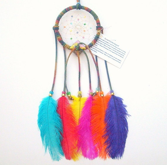 Tie dye brights dream catcher ostrich feathers for How to tie a dreamcatcher web