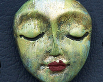"Polymer Clay OOAK   1 1/4""    Abstract  Art Doll  Face  Cab SMAB 2"