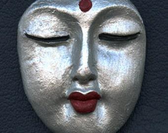 Polymer Clay  Buddha Face  Cab  Silver  BDSL 1