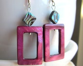 Cranberry Mother of Pearl and Abalone Earrings.  Purple MOP Earrings. Rectangular Earrings. Under 25.