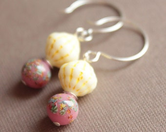 Vintage Glass Bead & Sterling Silver Earrings