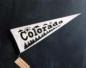 COLORADO felt pennant flag - block printed and hand sewn
