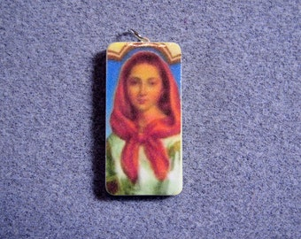 St. Dymphna Catholic Art Recycled Domino Pendant Necklace Therapists Mentally Ill D4