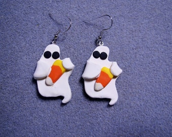 SALE - 50% OFF - Halloween Ghost Candy Corn Polymer Clay Charm Earrings Handmade Nickle Free