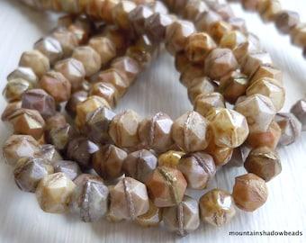 English Cut Czech Glass Beads 5mm Earth Tone English Cut Assortment - 50 (G - 114)