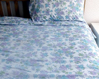 Vintage Bed Sheet - pink, green and aqua flowers