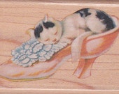 Vintage 1995 RUBBER STAMP - Cat - Kitten Napping in ViCTORIAN ShOE CyNTHIA HaRT for RuBBER StAMPEDE - New Unused