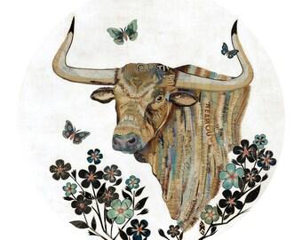 Circular Longhorn Bull Print