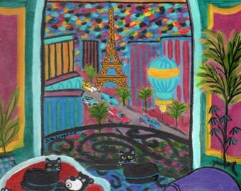 ORIGINAL PAINTING, Three Black Cats on a Vegas Stopover with a Black Bear by the Strip, by DM Laughlin