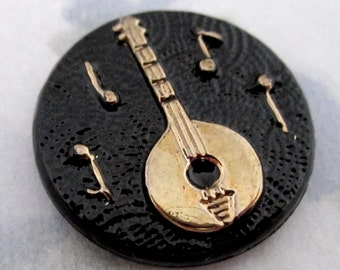 4 pcs. vintage glass black jet w gold cameo relief banjo music flat back cabochon 18mm - f4936