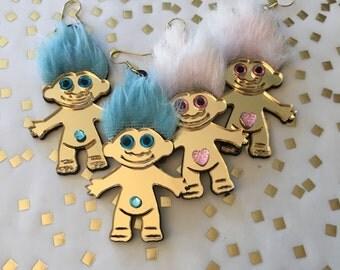 Furry Treasure Troll Pink or Blue Acrylic Laser Cut Earrings