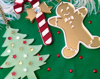 Christmas Gingerbread Man, Tree or Candycane Laser Cut Acrylic Necklace