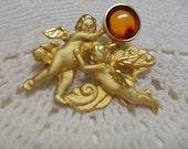 Vintage Lee Sands Cerubs Holding Baltic Amber Orb Brooch signed LS
