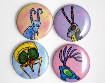 Bug Heads, 4-pack pin back button badge
