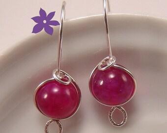 Mulberry Dragon Vein Quartz drop earrings Sterling Silver